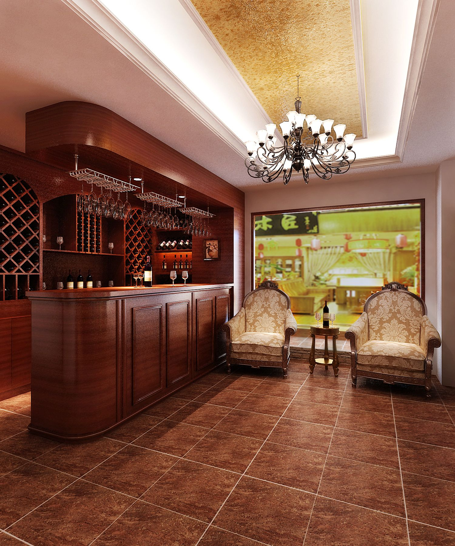 酒窖效果图 - 酒店设计 - 广州室内设计网_广州室内