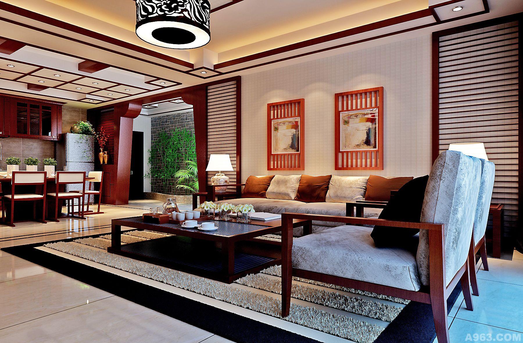 广州北部湾小区东南亚风格装修效果图 客厅