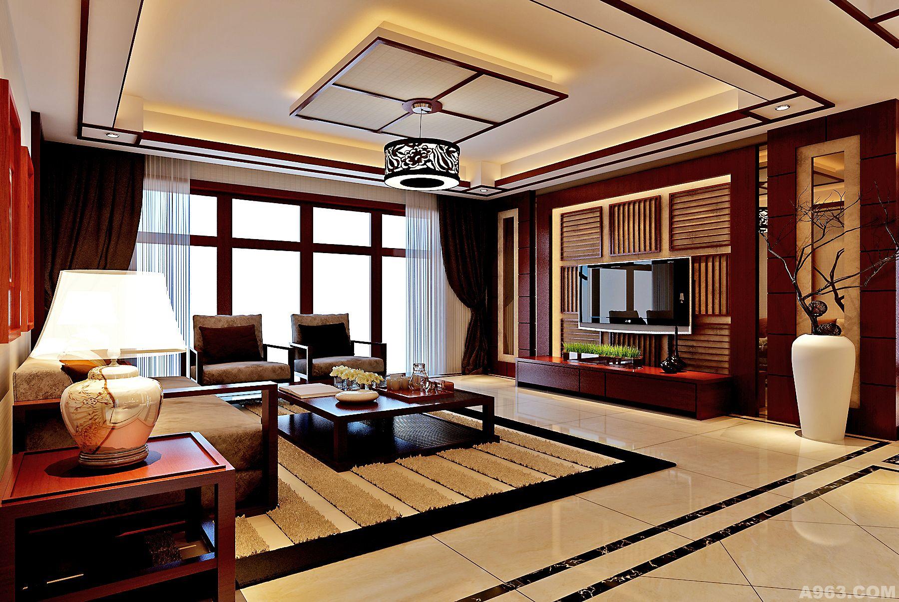 广州北部湾小区东南亚风格装修效果图——客厅
