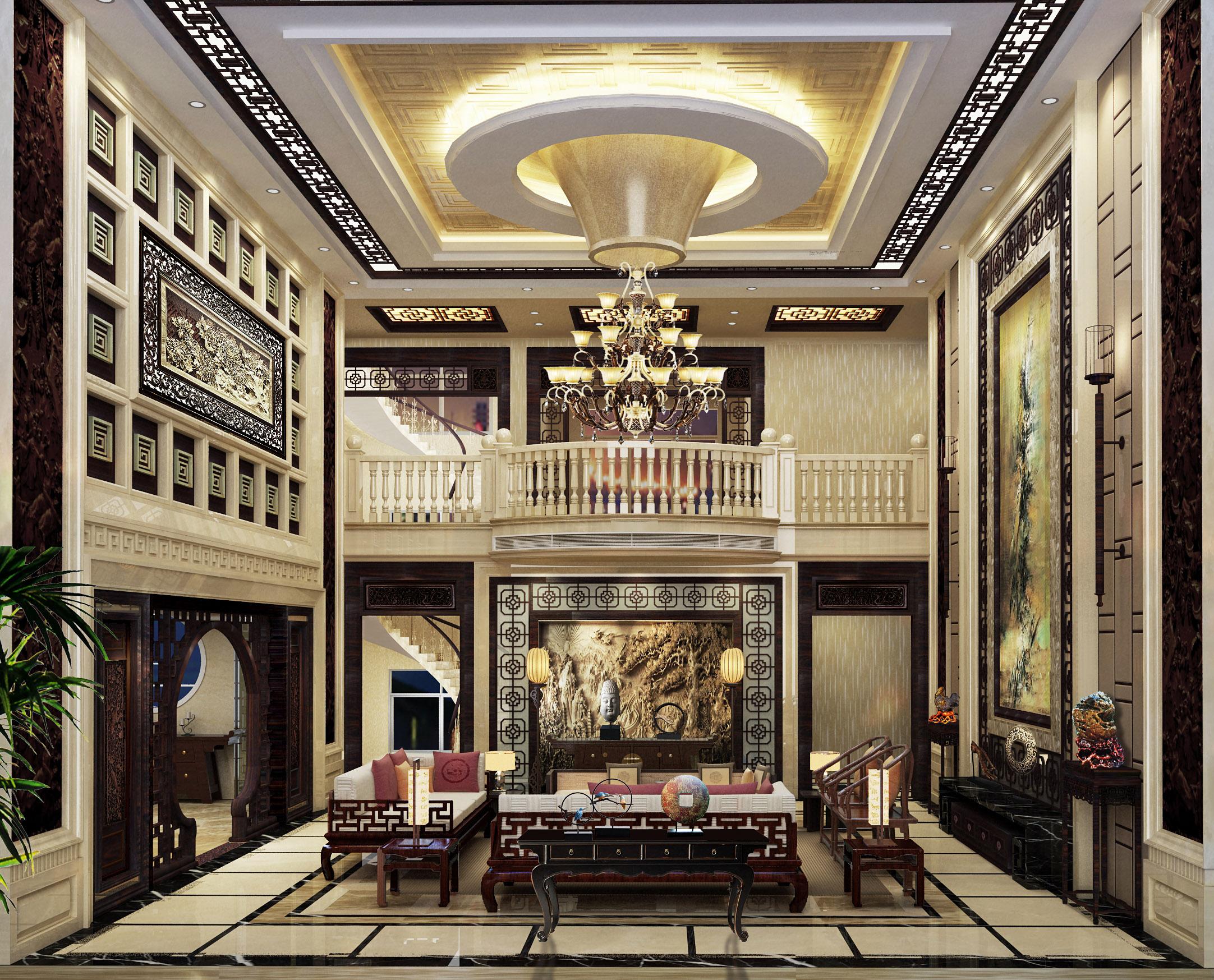 高明中式别墅室内设计