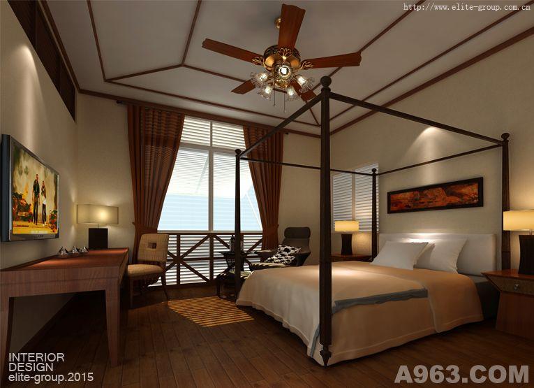 客房设计体现东南亚风格,原木家具与布艺搭配,原木地板朴实自