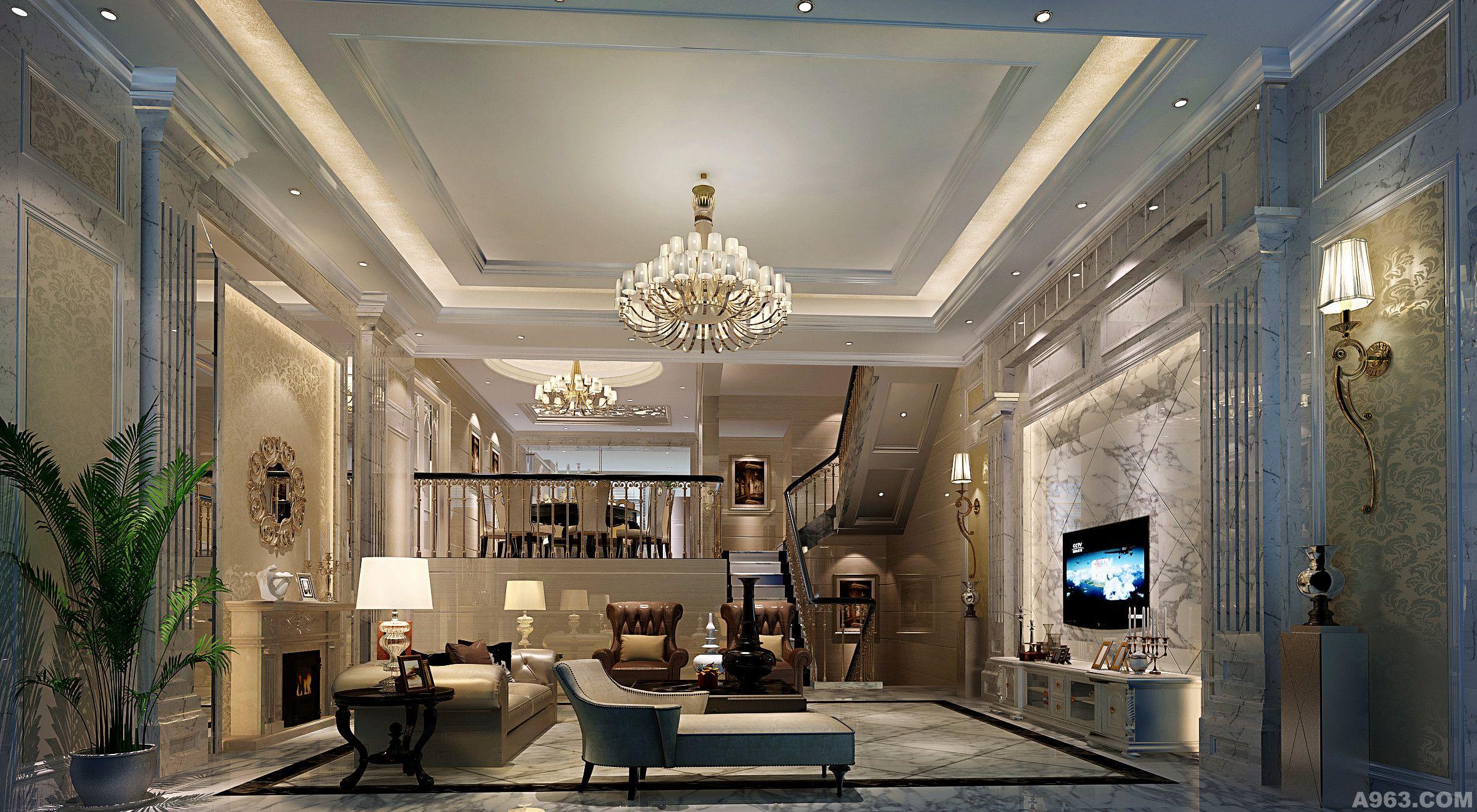 清华居   客户要求:白欧,白色调,地下室中式风格   材料应用:艺术漆图片