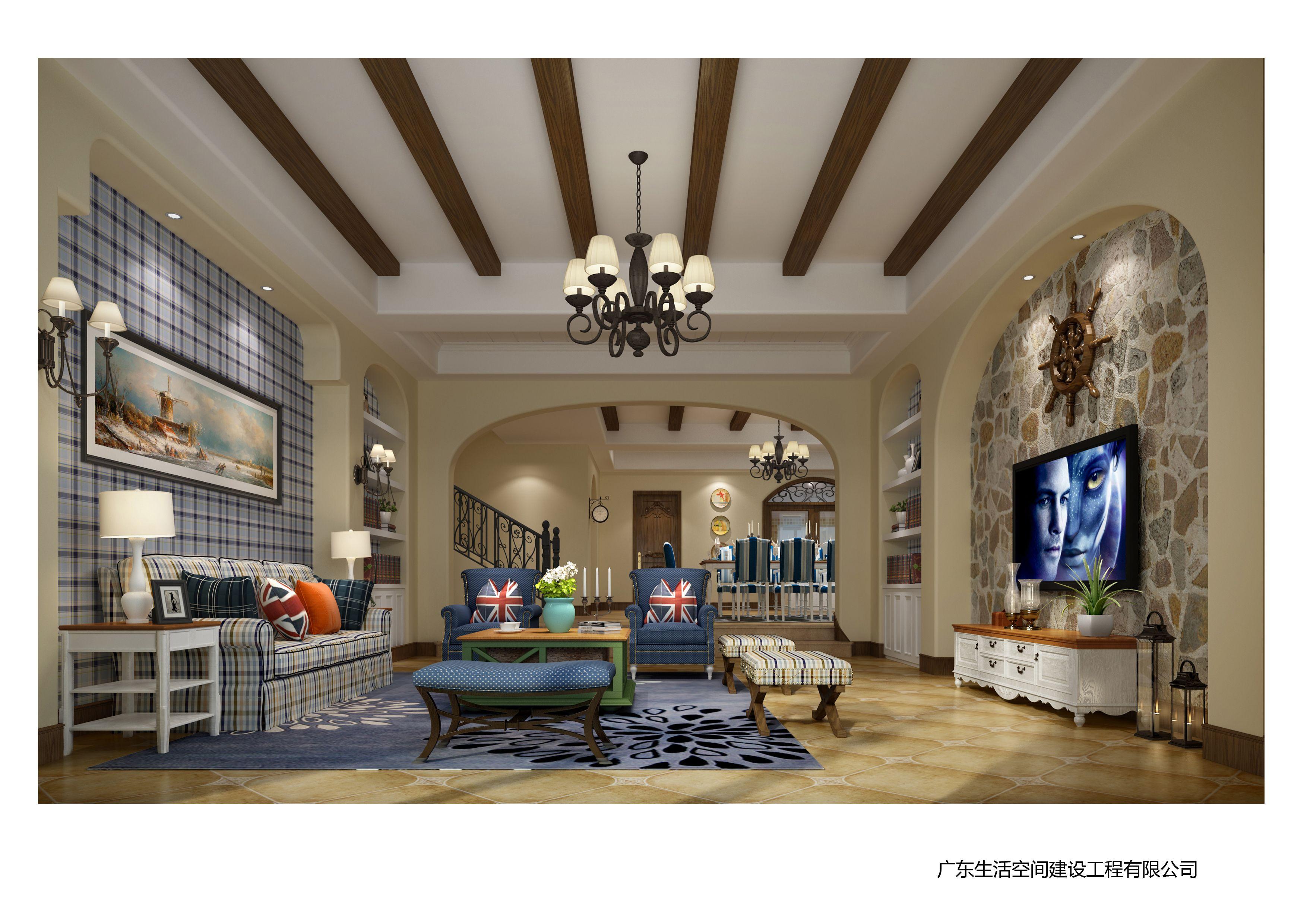 这个案例中的客厅,采用的是简单的吊顶设计,没有多余的装饰。这与餐厅中的假梁吊顶形成明显的对比,一盏大的吊灯与壁灯相统一。典型的蓝白在家具和家纺中得到延伸,虽然没有很艳丽的颜色和夸张的设计,却彰显了很淡雅的居住空间,所有元素结合起来是富有变化和层次的,仿佛置身于广阔的海洋中。