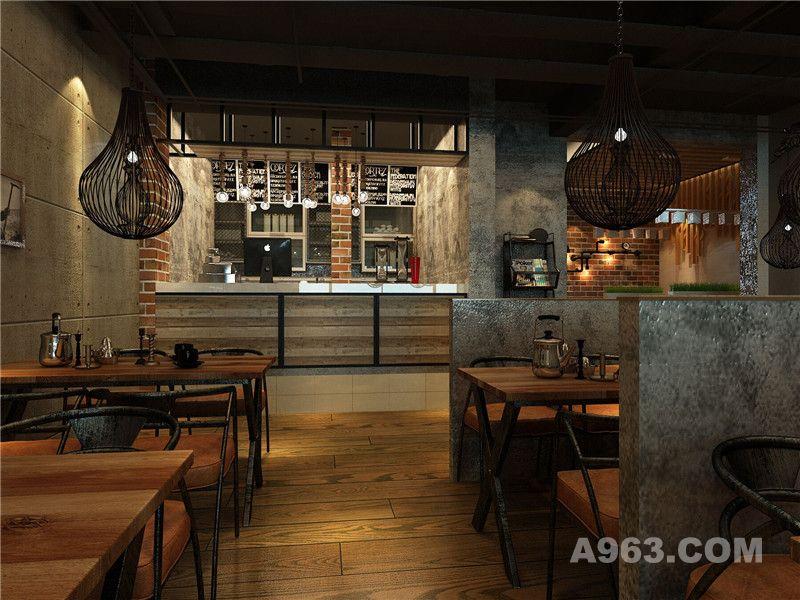 工业风主题餐厅设计茶室效果图