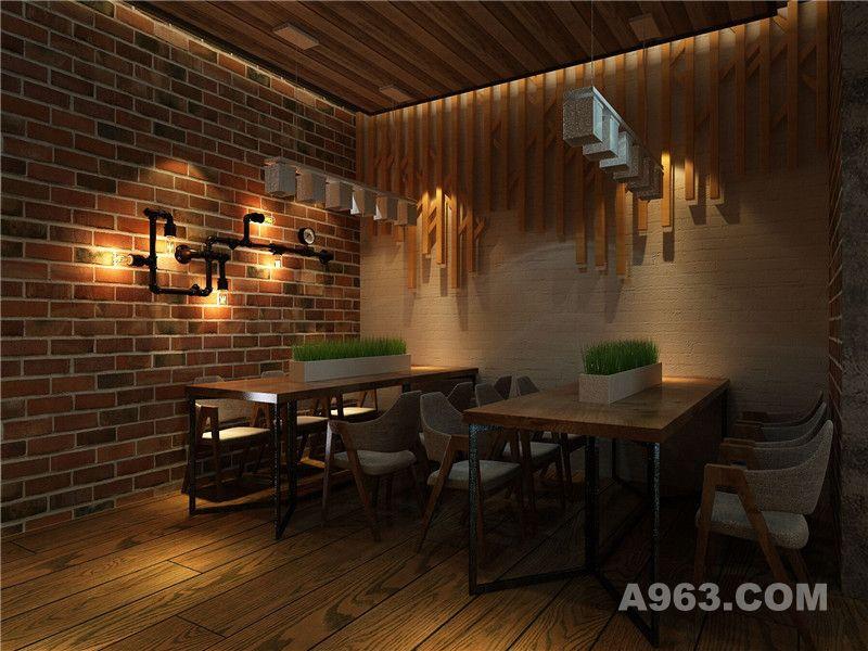 工业风主题餐厅设计隔断设计效果图